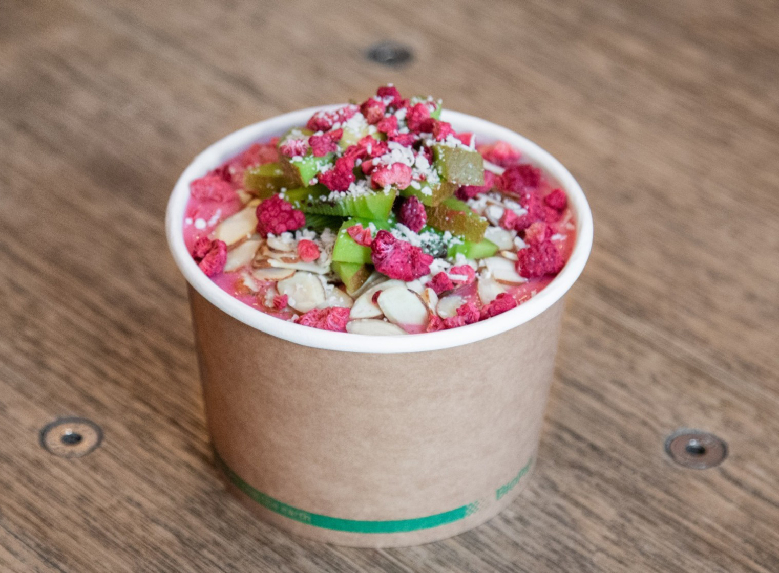 our bowls are blended fresh frozen fruit and topped with fresh fruit and super food goodies